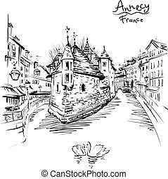 Annecy, Venice of the Alps, France. - Vector black and white...