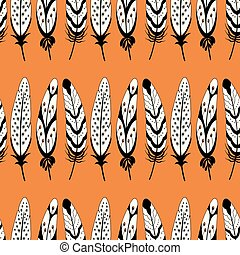 Vector black and white feather stripe seamless repeat pattern background.