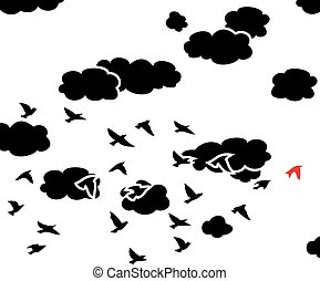 vector black and white  flying birds and clouds in the sky