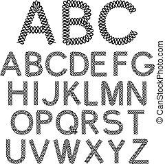 Vector black and white font alphabet