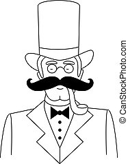 Vector Black and White Gentleman's Portrait with Top Hat, Glasses and  Moustache
