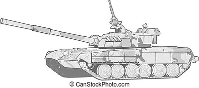 tank - vector black and white illustration of a modern heavy...