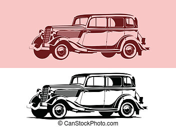 retro car - Vector black and white illustration of a retro ...