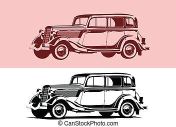 retro car - Vector black and white illustration of a retro...