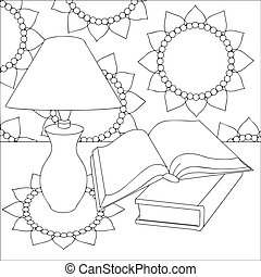 vector black and white illustration of a table with a lamp and books and with a floral ornament