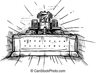 vector black and white illustration of bulldozer stylized as engraving.