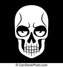 Vector black and white illustration of human skull