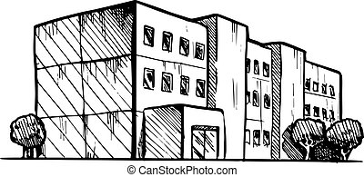 residential building - vector black and white illustration ...