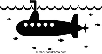 vector black and white illustration of submarine