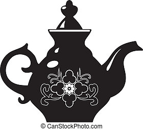 teapot - Vector black and white illustration of  teapot