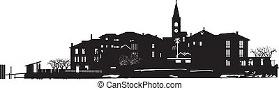 Vector black and white illustration of town