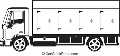 Vector black and white illustration of truck.