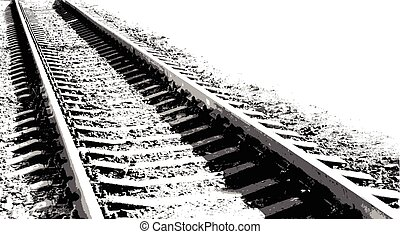 Vector black-and-white illustration Railway