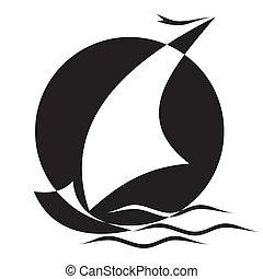 Sailboat - vector black and white image of Sailboat