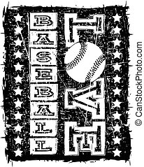 Vector black and white inscription love baseball with stars on grunge background. Design for tattoo or print t-shirt.