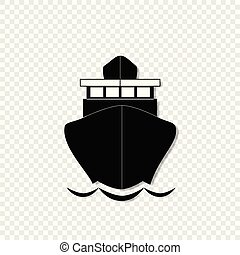 sailing ship front view icon isolated on transparent background.