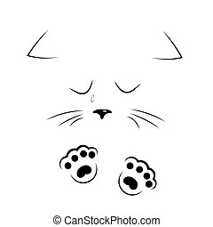 vector black and white outline drawing sad cat face with paws