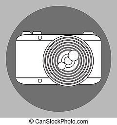 Vector black and white photo camera
