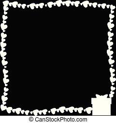 Vector black and white retro border made of hearts with giftbox silhouette in corner.