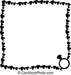 Vector black and white retro border made of hearts with ring silhouette in corner.