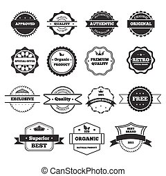 Vector Black and White Retro Stamps and Badges Isolated on White