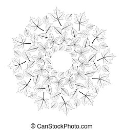 vector black and white round autumn mandala with leaves of maple, oak, beech, horse chestnut and alder - adult coloring book page