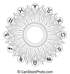 vector black and white round geometric mandala with twelve zodiac symbols - adult coloring book page - sun design with copy space in the middle