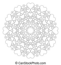 vector black and white round lovely mandala with hearts - adult coloring book page