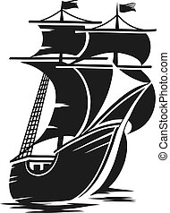 ship - vector black and white schematic drawing of the ship