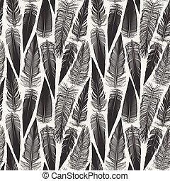Vector Black And White Seamless Bird Feather Jumble Pattern.eps