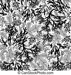 Vector Black and White Seaweed Texture Seamless Pattern...