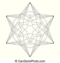 vector black and white simple christmas mandala - hexagram...