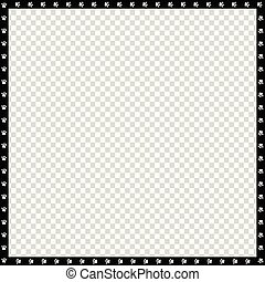 Vector black and white square border made of animal paws print isolated