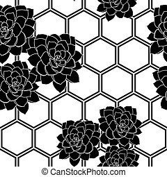 Vector black and white succulent flower hexagon background seamless pattern print