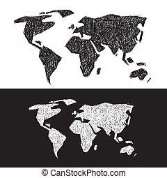 Vector Black and White World Map Illustration Set