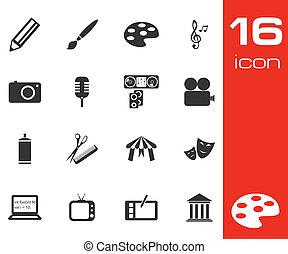 Vector black art icons set on white background