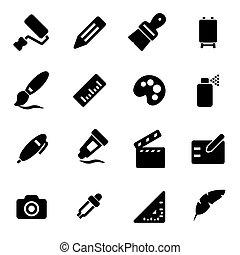 Vector black art tools icons set