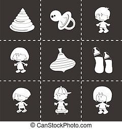 Vector black baby icons set