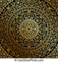 black background with gold oriental - Vector black...