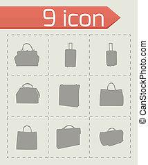 Vector black bag icons set