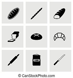 Vector black bakery icon set