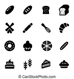 Vector black bakery icons set