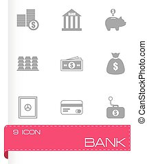 Vector black bank icons set