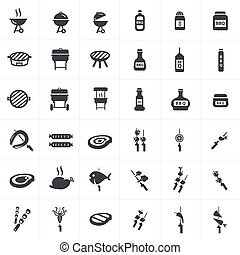 vector black barbecue icons set on gray