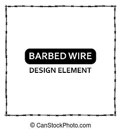 Vector black barbed wire frame