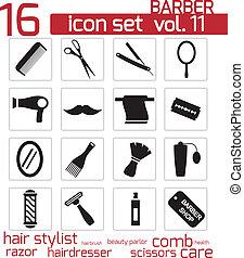 Vector black barber icon set