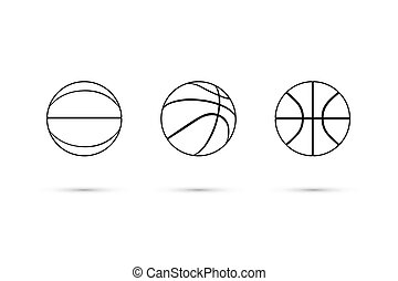 Vector black basketball ball line icon set isolated on white background.