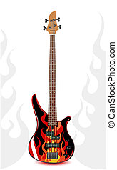 Vector black bass guitar with flames