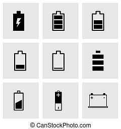 Vector black battery icon set on grey background