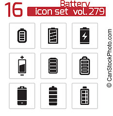 Vector black battery icons set on white background